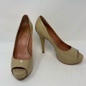 Vince Camuto Nude Patent Leather Milesy 2 Heels